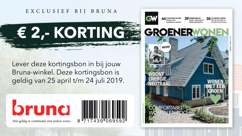 groener wonen, korting, kortingsbon, bruna, tijdschrift, magazine, nieuw, groener wonen