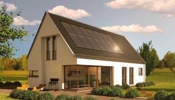 Modern huis in een groene omgeving met 14 solarwatt Zonnepanelen op het dak gemonteerd